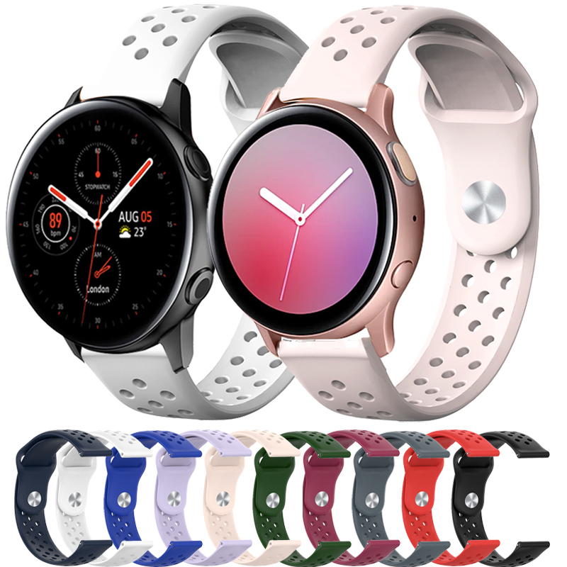 For Samsung Galaxy watch Active 2 strap 46mm 42 Gear S3 huawei watch 2 Soft <font><b>Silicone</b></font> <font><b>bracelet</b></font> <font><b>20mm</b></font> 22mm strap Galaxy watch <font><b>band</b></font> image