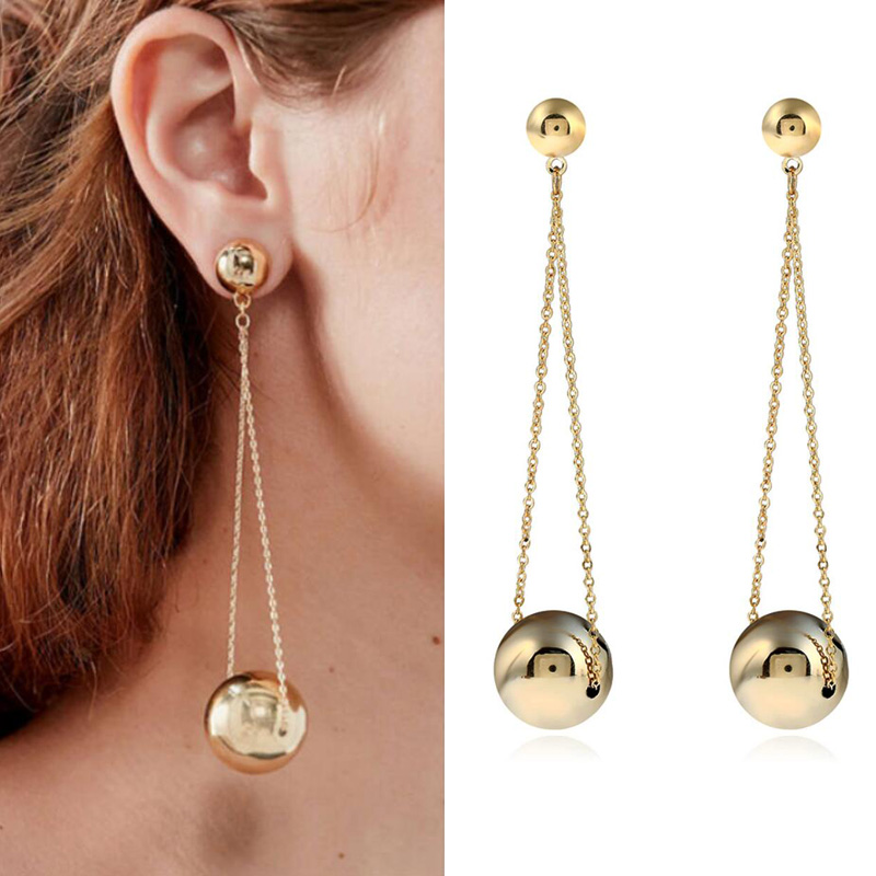 Luxury Gold Ball ong Earrings For Women Fashion Party Wedding Fashion Jewelry Statement Big Earrings Valentine's Day Gifts(China)