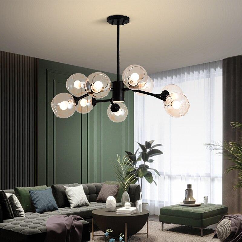 Скандинавская Люстра для гостиной, столовой, спальни, гардеробной, виллы, лофта, подвесные светодиодсветодиодный светильники со стеклянным...
