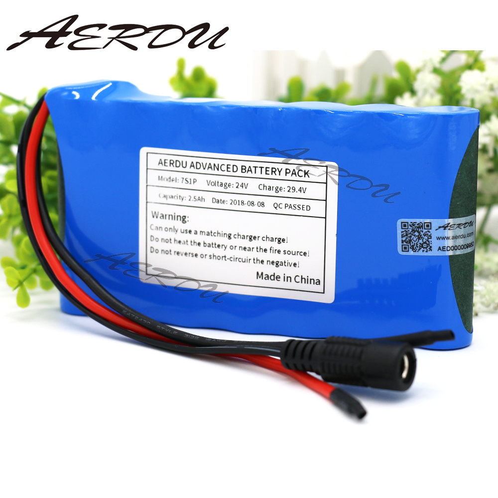 AERDU 24V 2.5Ah 7S1P 25.9V <font><b>29.4V</b></font> Lithium-<font><b>ion</b></font> <font><b>battery</b></font> pack For Small Electric Unicycles Scooters toys Bicycle Built-in BMS image