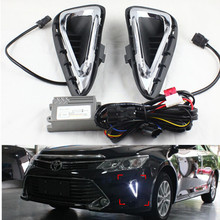 цена на For Toyota Camry DRL LED Light conducting LED daytime running lights DRL with turn signal light  for Camry 2015