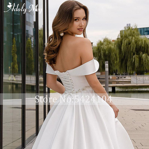 Image 4 - Adoly Mey Romantic Sweetheart Neck Lace Up Bride A Line Wedding Dress 2020 Luxury Beaded Satin Court Train Princess Wedding Gown