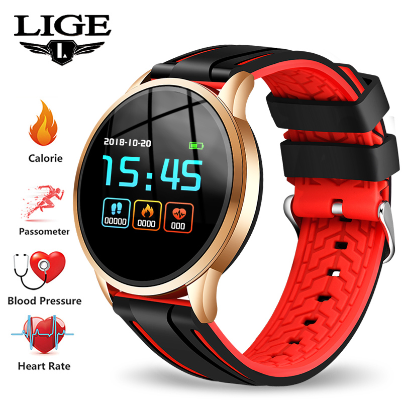 LIGE 2019 New Women Smart Watch Heart Rate Blood Pressure Monitor Sport Watch Men Pedometer fitness Smart Watch For Android IOS
