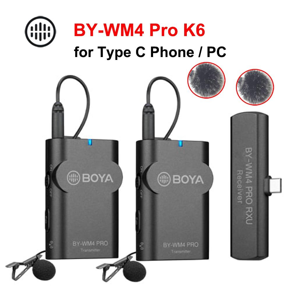 BOYA-micrófono inalámbrico BY-WM4 Pro K6, interfaz tipo C, para teléfono inteligente, HUAWEI, OPPO VIVO, XIAOMI, PC, Macbook