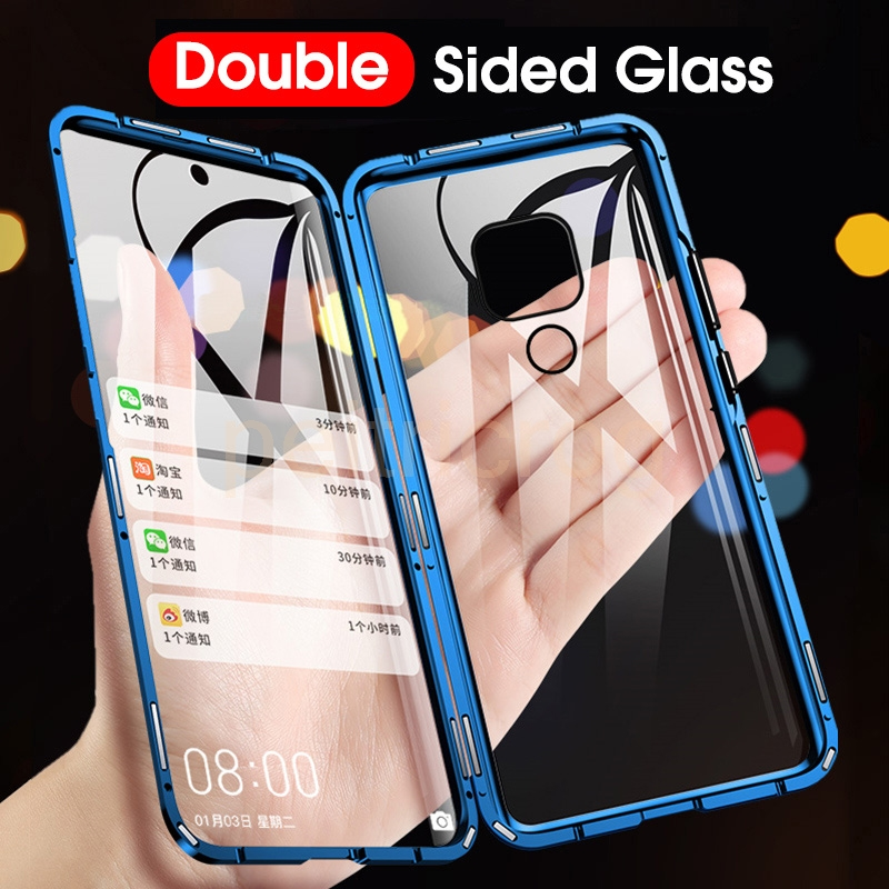 Double Sided Magnetic Metal Case For Xiaomi Redmi Note 9 9S 8 8T 7 8A K20 10 9T CC9 CC9E Pro Lite POCO F1 A3lite 10X Glass Cover(China)