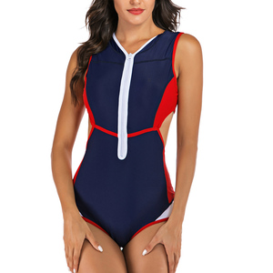 Image 5 - Riseado Patchwork One Piece Swimsuit Female Cut Out Swimwear Women Sport Rash Guards Swimming Surfing Summer Beachwear