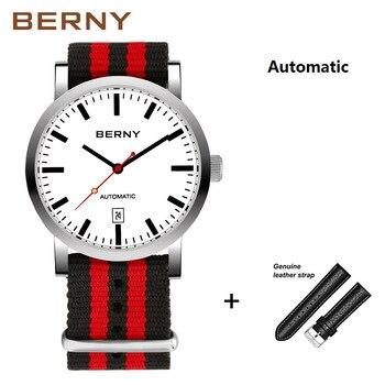 BERNY Brand Automatic Mechanical Watches Men Waterproof Classic Auto Date Watch Men erkek kol saati free shipping AM7068