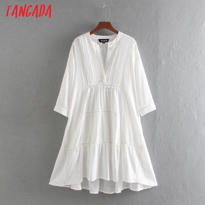 Tangada Fashion Women Solid White Cotton Dress Lace Patchwork Long Sleeve Ladies Loose Midi Dress Vestidos CE311