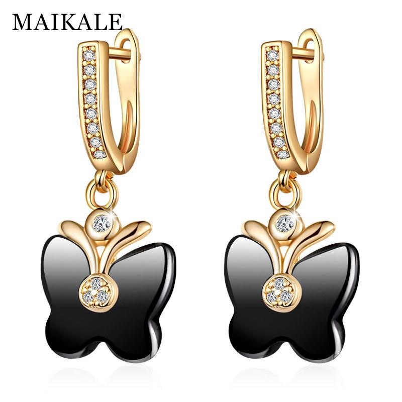 MAIKALE Cute Butterfly Shape Ceramic Earrings Cubic Zirconia Golden/Silver Dangle Drop Earrings for Women Fashion Jewelry Gifts