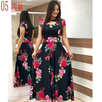Elegant Spring Autumn Women Dress 2019 Casual Bohmia Flower Print Maxi Dresses Fashion Hollow Out Tunic Vestidos Dress Plus Size 3