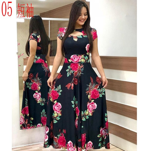 Elegant Spring Autumn Women Dress Casual Bohmia Flower Print Maxi Dresses Fashion Hollow Out Tunic Vestidos Dress Plus Size 3
