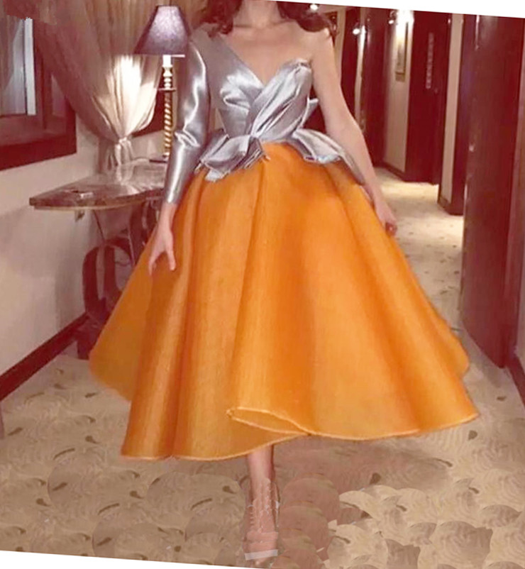 Chic Design Organza Sliver One Shoulder Long Sleeves Evening Dress Custom Made Special Occasion Party Formal Gown Dresses 2019