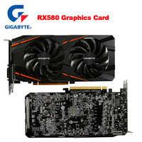 GIGABYTE RX580 Graphics Card 8GB Radeon RX580 8G Video Cards for AMD Display Port HDMI DVI-D PCI-E3.0*16 DesKtop Used