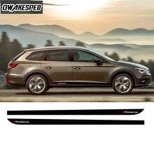 X Perience Sport Stripes For Seat Leon 5 doors Car Door Side Skirt Sticker Auto Body Decor Vinyl Decals Carbon FIber Accessories