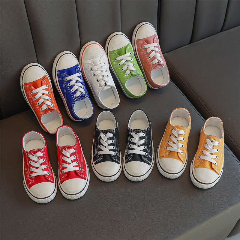 Classic Kids Shoes Canvas Candy Color Lace Up Children Casual Shoes Basic Boys Girls Sneakers Kids Loafers Student Shoes D02084