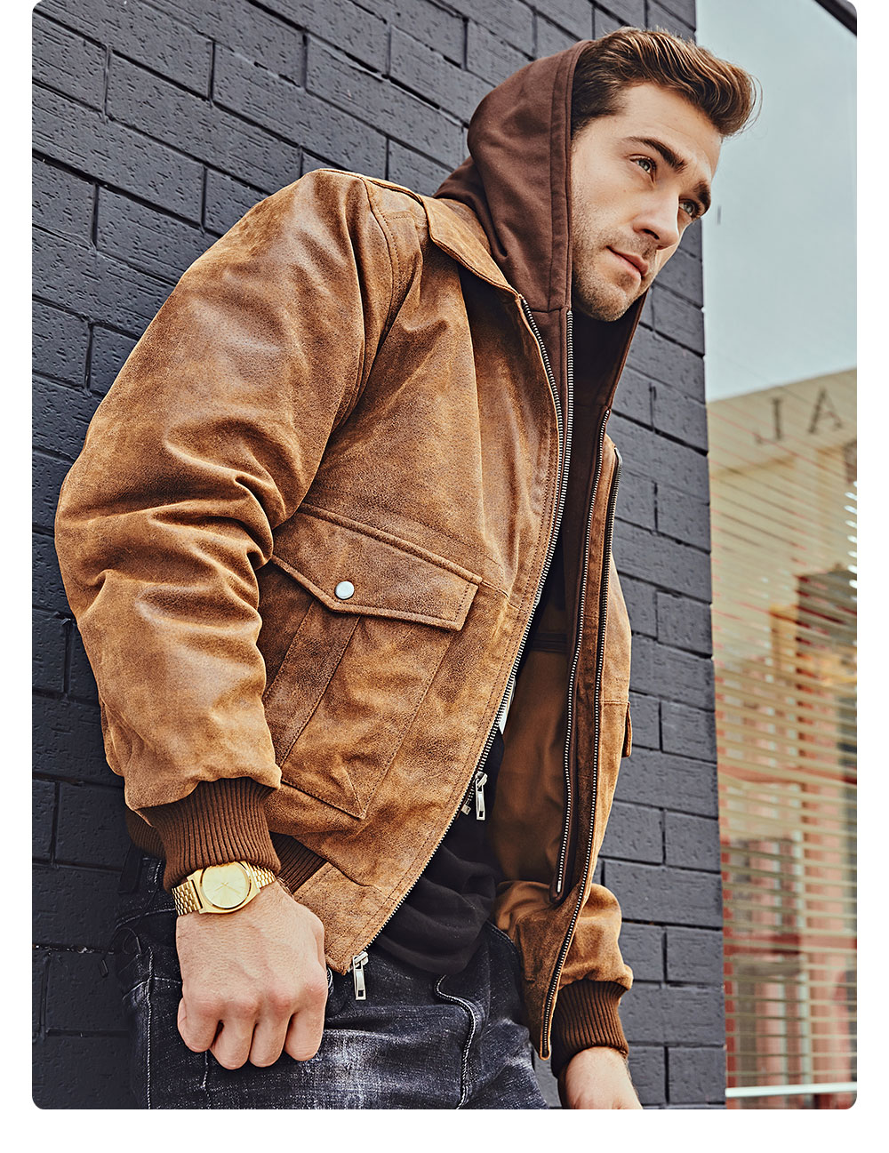 Hf83a3ad18e874578a6ef6921e3ad7244B FLAVOR New Men's Genuine Leather Bomber Jackets Removable Hood Men Air Forca Aviator winter coat Men Warm Real Leather Jacket