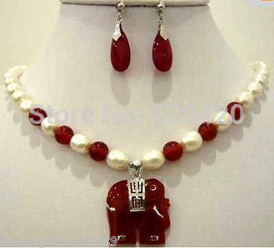 Envío gratis al por mayor> JJ6549 joyería agua dulce perla blanca piedra roja colgante collar pendiente conjunto