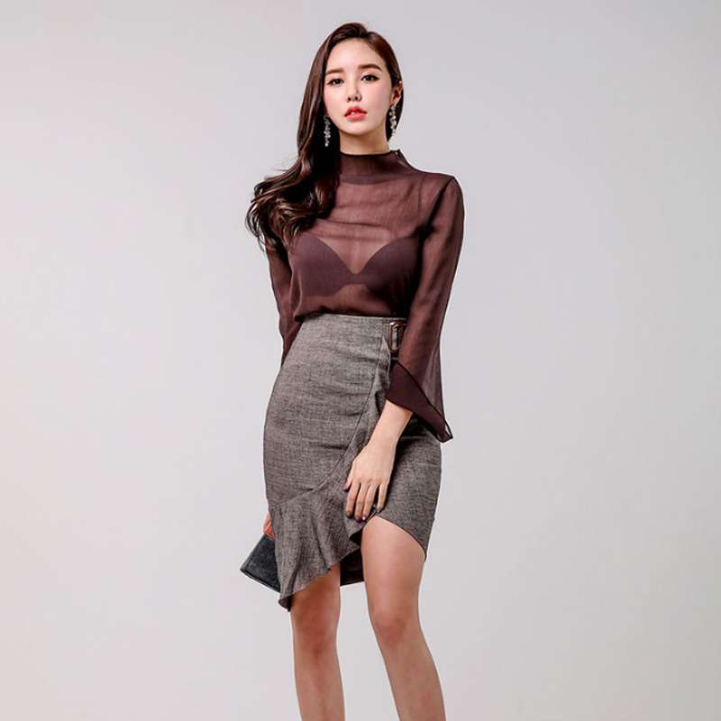 Set Spring New Products Korean-style Slim Fit Tops + Flounced Skirt Two-Piece Set