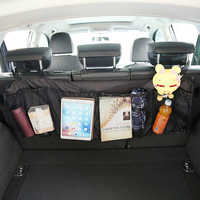 Bolsa organizadora para asiento trasero de maletero de coche, almacenamiento de malla SUV roja, bolsillos de remolque, bolsas de basura para automóvil, accesorios para automóviles