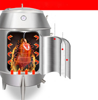 80cm/90cm Charcoal Roast Duck Oven Commercial Steel Meat Roasting Stove Double Layer Duck Goose Roaster