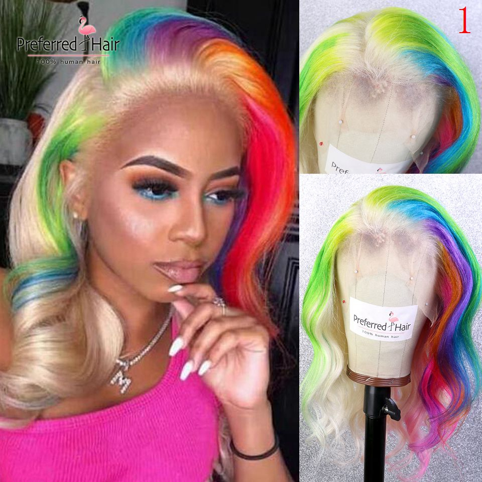 Preferred Rainbow Color Wig Red Green Purple Blue Blonde Highlight Wig Preplucked Brazilian Lace Front Human Hair Wigs For Women