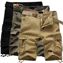 Летние мужские шорты Карго, мешковатые, мульти карманы, военные, на молнии, повседневные, короткие, размера плюс 55, бриджи, мужские, тактическ...