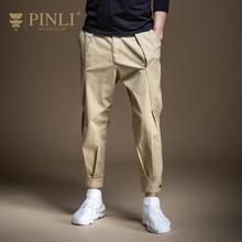 PINLI 2020 Spring New Cargo Pants Casual Trousers Solid Colo