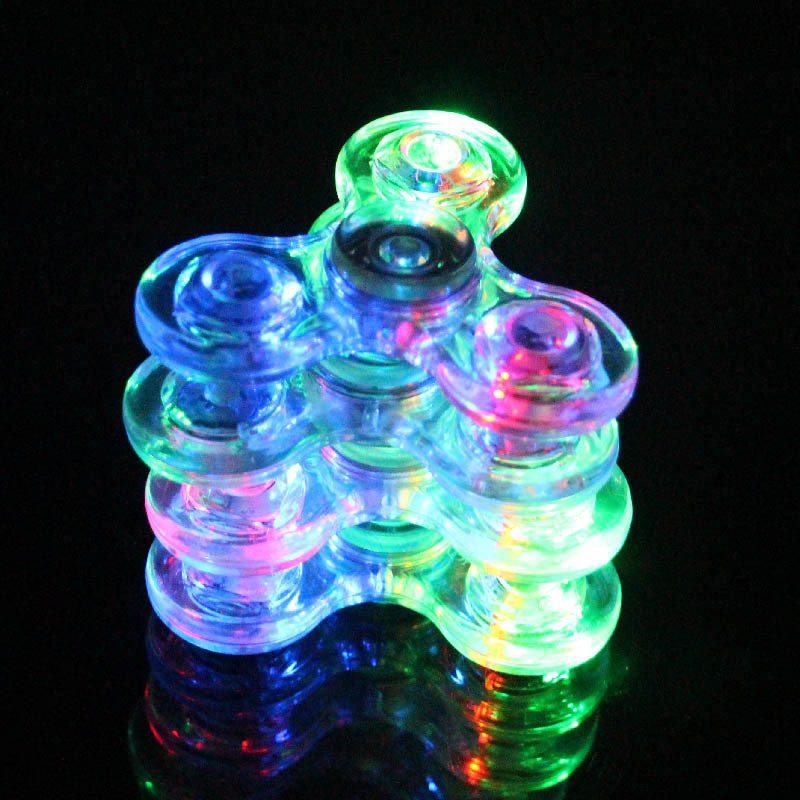 Luminous  LED Fidget Spinner Transparent LED Flash Light Colorful Change E Spinner Glow In The Dark Stress Relief Toys For Kids