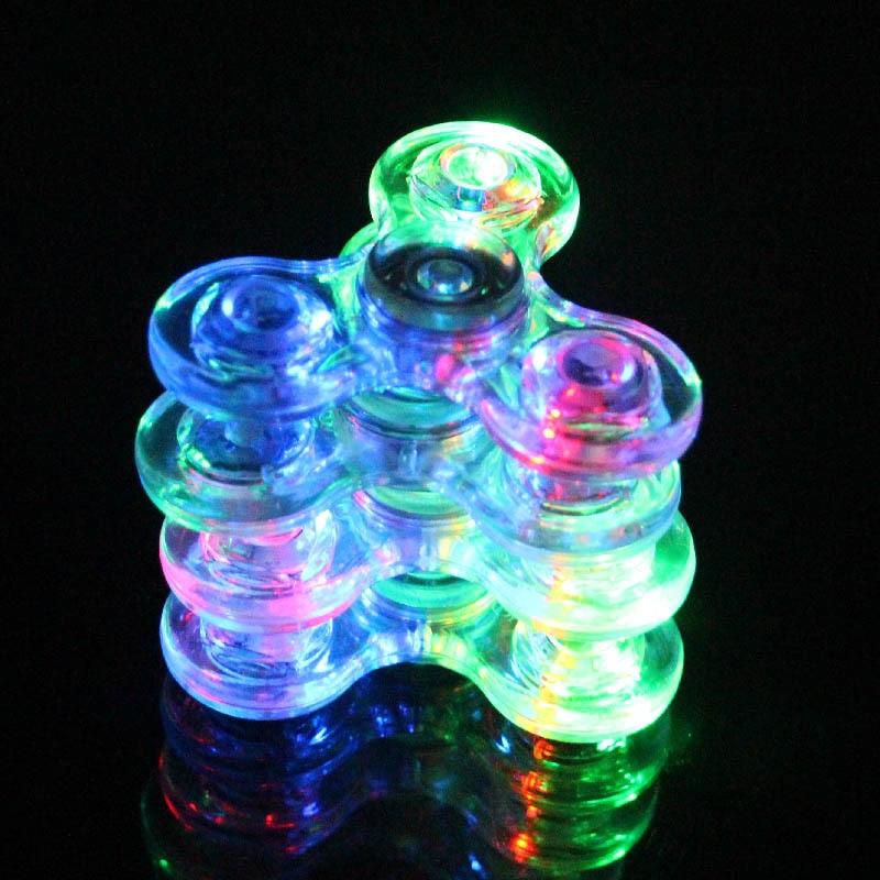 Luminous  LED Fidget Spinner Transparent LED Flash Light Colorful Change E Spinner Glow In The Dark Stress Relief Toys For Kids