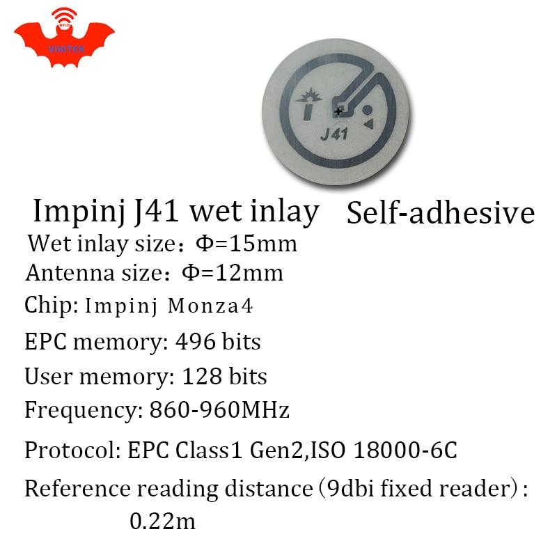 Купить с кэшбэком RFID tag UHF sticker Impinj J41 EPC 6C wet inlay 915mhz868mhz860-960MHZ Higgs3 500pcs free shipping adhesive passive RFID label
