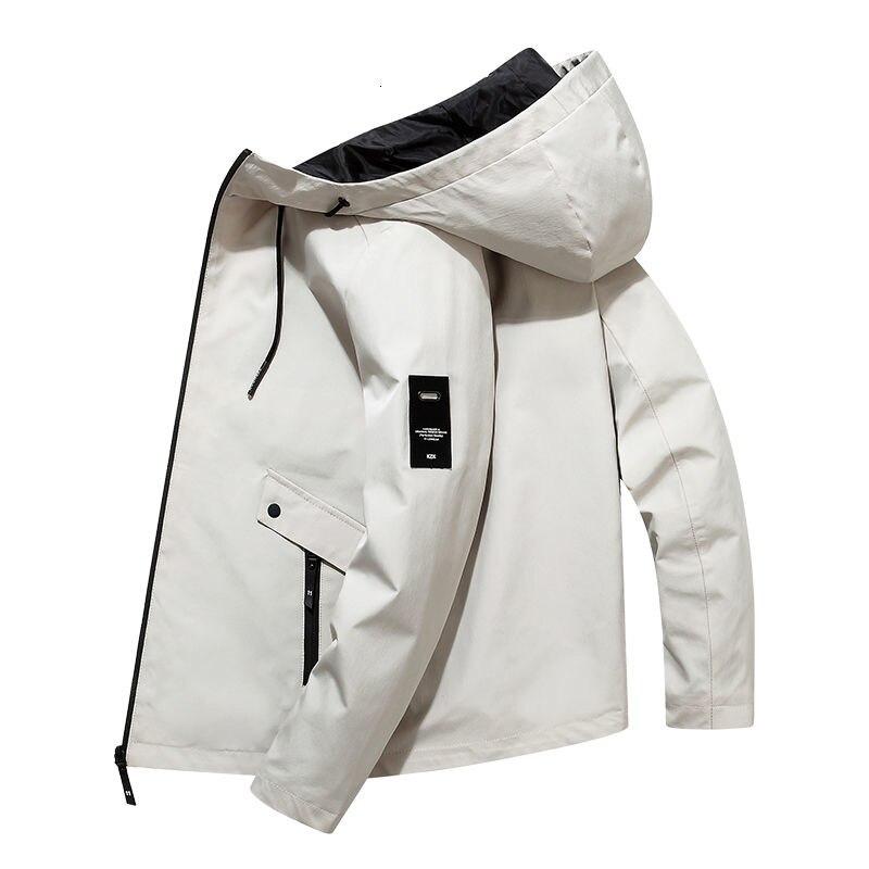 Coat men's loose fitting spring versatile men's work clothes casual Hooded Jacket student fat zipper shirt 8079p45