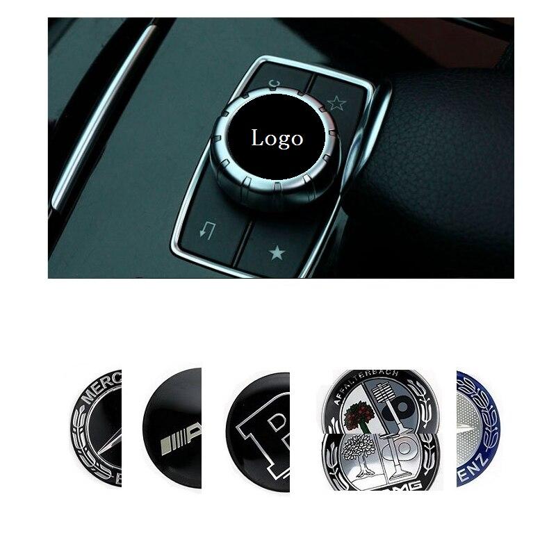 1 pièces voiture multimédia bouton autocollant accessoire pour Mercedes W204 C180 C200 W203 w213 w205 w212 AMG CES CLS CLA CLK CLG GLS