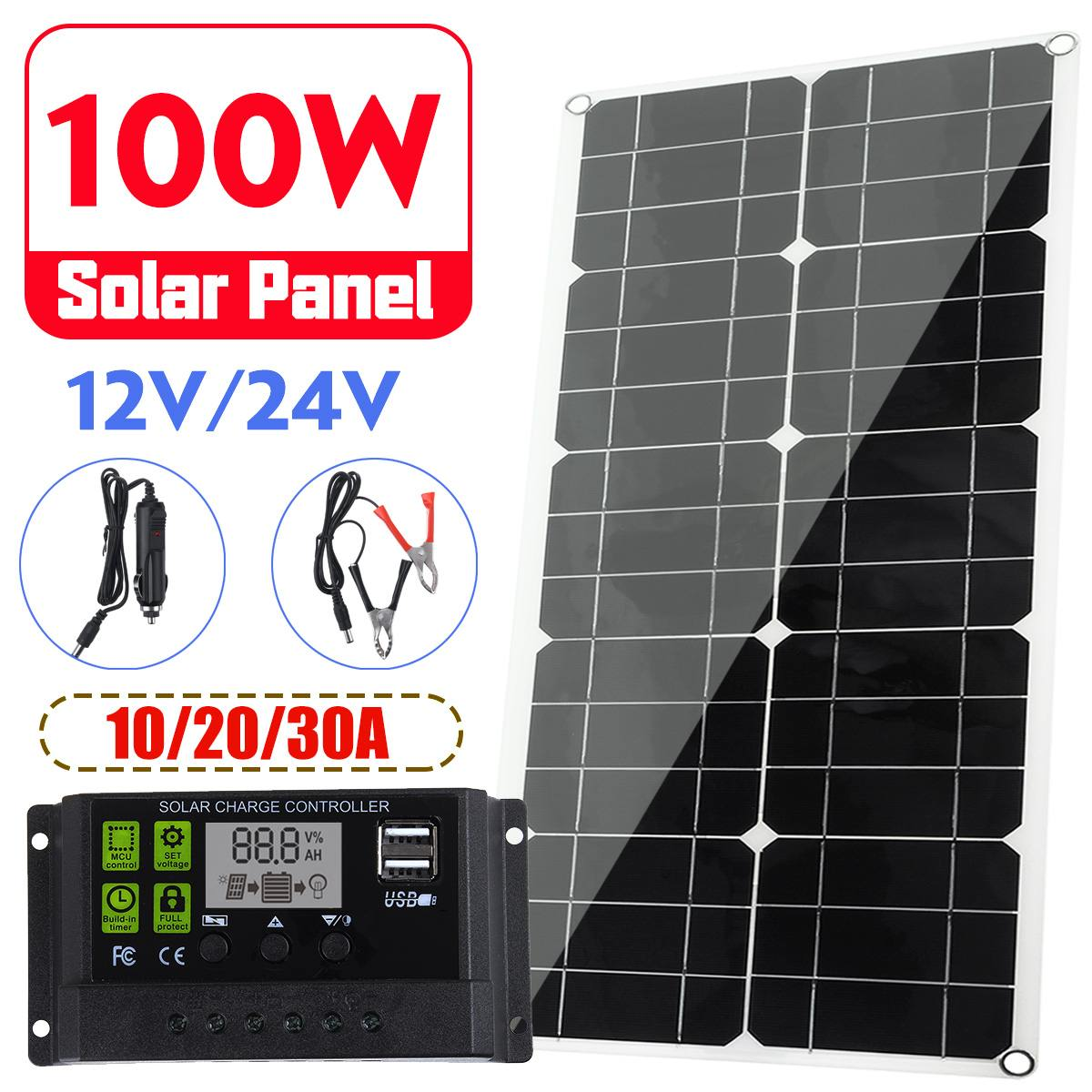 100W <font><b>Solar</b></font> Panel 12V/24V LCD Display <font><b>PWM</b></font> <font><b>Solar</b></font> <font><b>Charge</b></font> <font><b>Controller</b></font> 2 Power Bank Board External Battery Charging USB Car Charger image