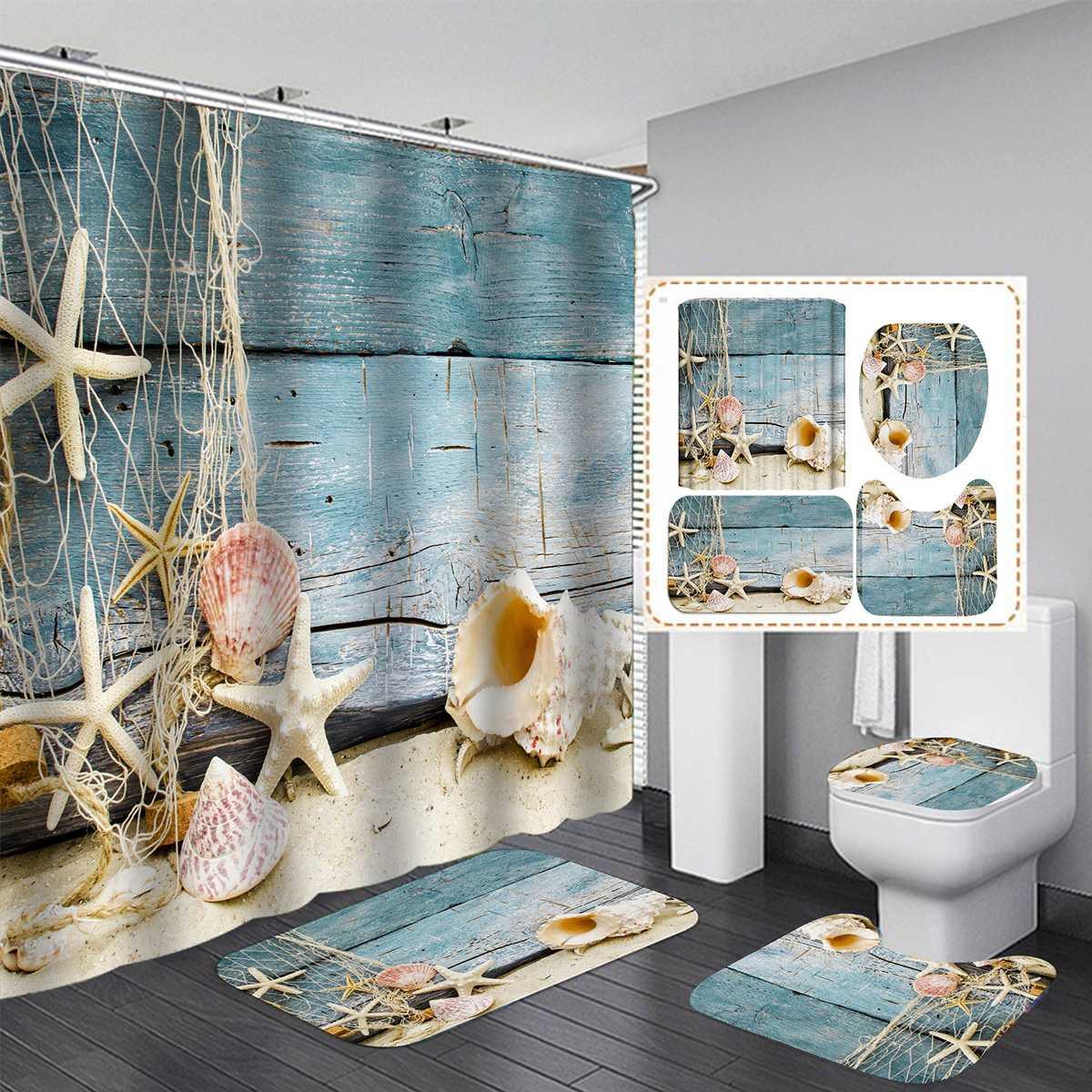 Ocean Beach Summer Theme Shower Curtain
