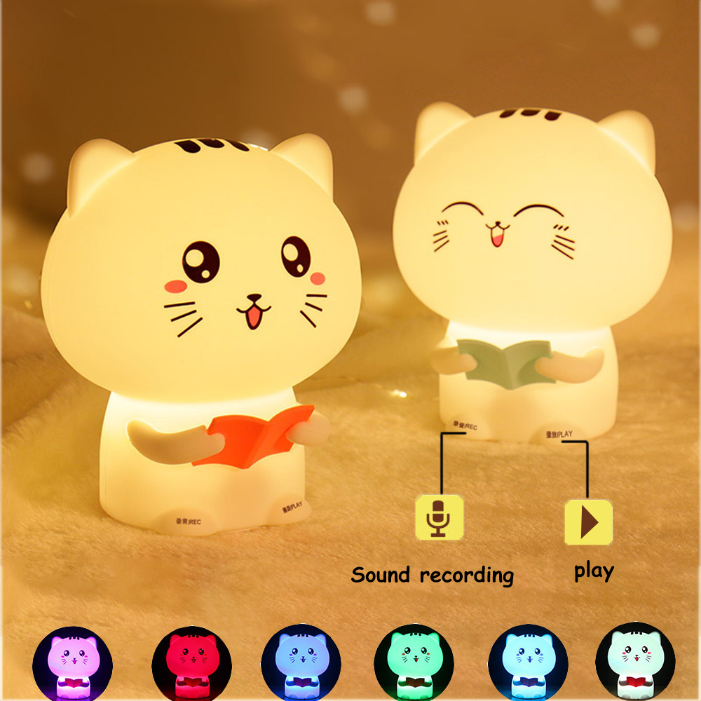 USB Recording Function Talking Cat Novetly Light Silicone Touch Sensor Night Light Cartoon Animal Gift Bed Decoration For Baby