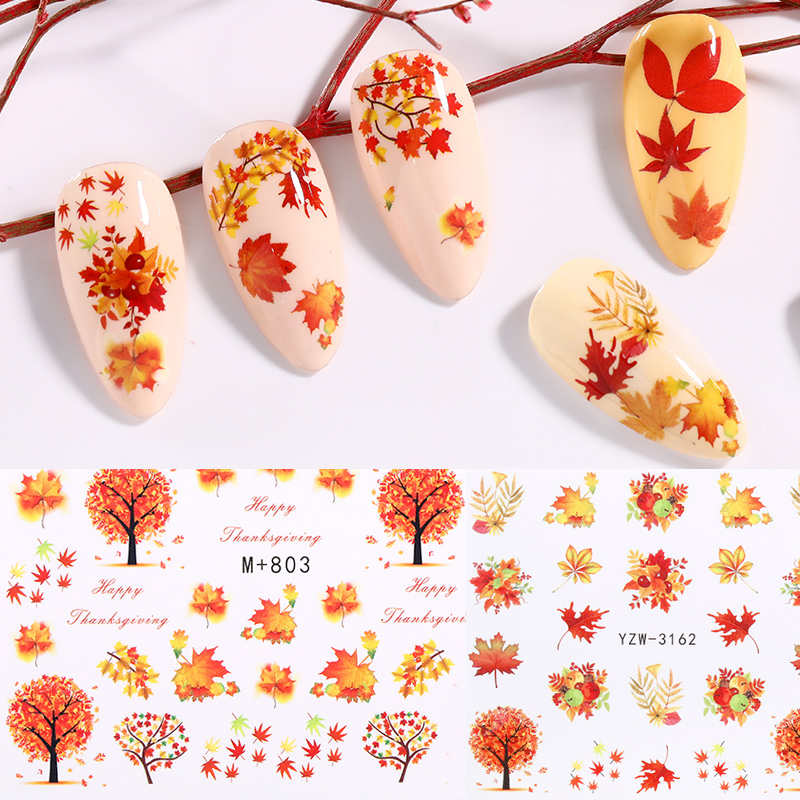 1 Sheet Nail Water Decals Gold Yellow Maple Leaves Colorful Mixed Patterns Nail Transfer Decals Nail Art DIY Design Decorations