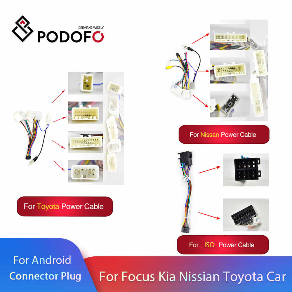 Podofo 2 Din Android Radio Auto Accessoires Wire Kabelboom Adapter Connector Plug Universele Kabel Voor Vw Nissian Toyota