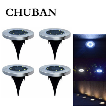 CHUBAN 4Pcs Solar Powered Ground Light Waterproof Garden Pathway Deck Lights with Lamp for Yard Driveway Lawn Solar Energy Lamp