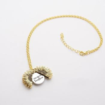 Open Locket Sunflower Pendant You Are My Sunshine Necklace Wholesale Gold Necklace Dropshipping Custom Women Z8Y5 image
