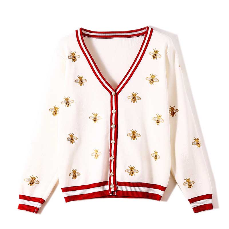 NiceMix Women's Sweater Embroidery  Autumn New Women's Long-sleeved Industry Bee Contrast Color Stripes Loose Knit Cardigan Thin