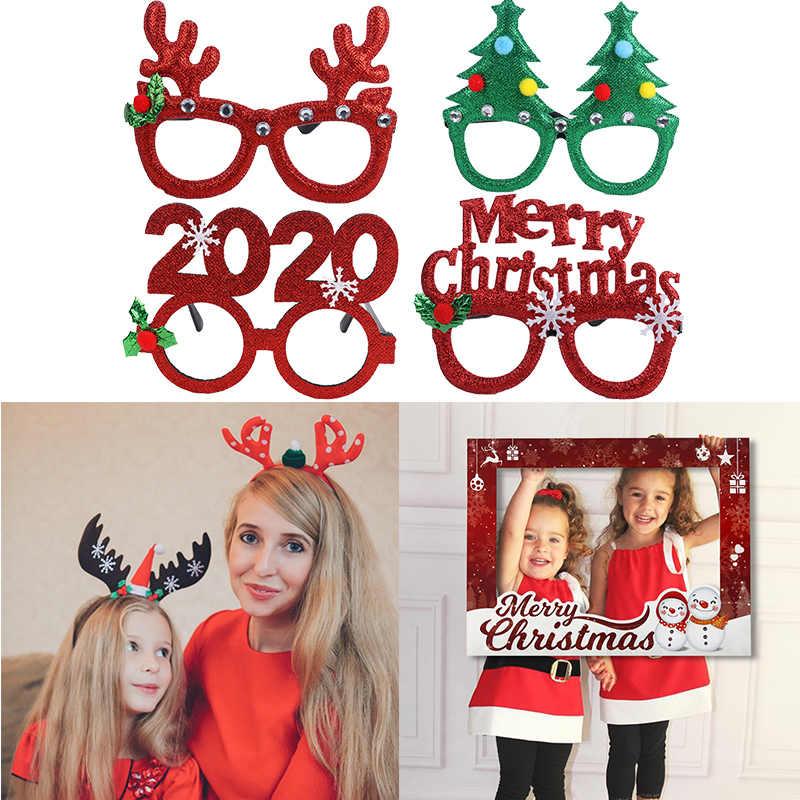 Cyuan Dekorasi Natal untuk Dekorasi Rumah Baru Tahun Kacamata Headband Bingkai Foto Alat Peraga Anak Xmas Hadiah Foto Navidad 2019