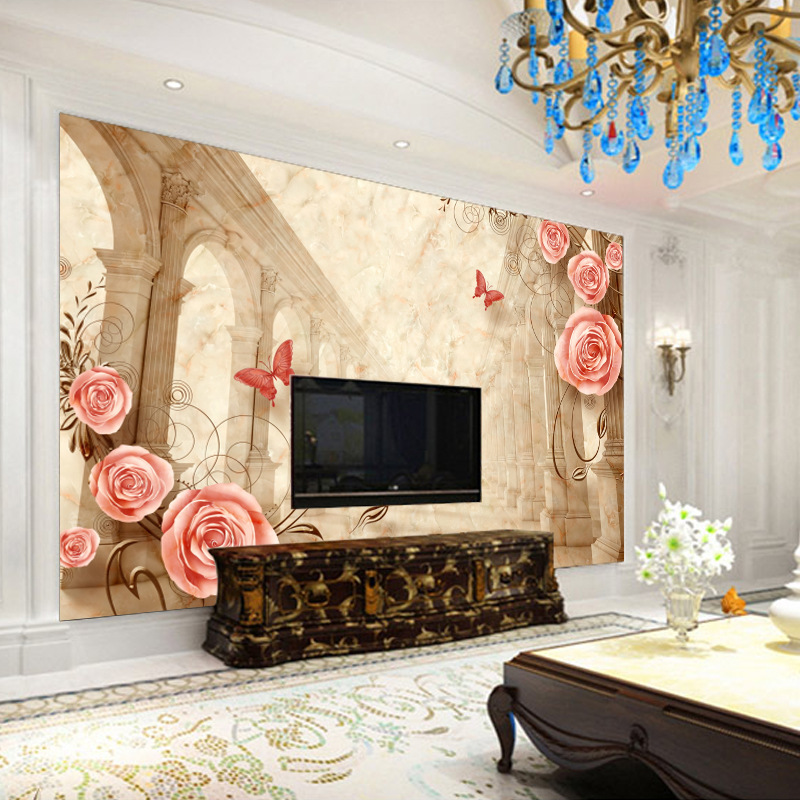 3D TV Backdrop Large Mural Minimalist Modern Bedroom Living Room 3D Non-woven Wallpaper Film And Television Wallpaper