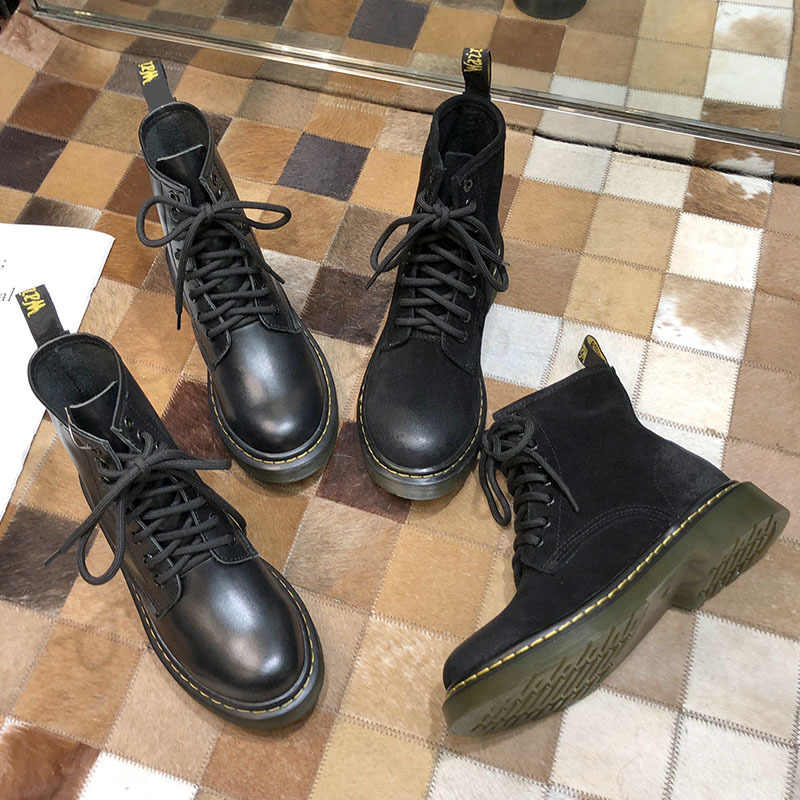 Botas De cuero genuino mujeres Otoño Invierno Botas Mujer Retro Lace Up Botas femeninas Chic botines De Mujer Zapatos De Mujer