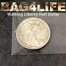 Bag4Life (1 Walking Liberty Half Dollar +DVD) Magic Tricks Close Up Street Illusions Gimmick Coin Thru Clear Plastic Bag Magica