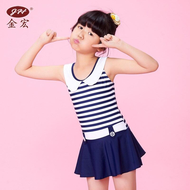 JH GIRL'S Swimsuit Cute Navy Style Stripes Bathing Suit Dress-Tour Bathing Suit CHILDREN'S Swimsuit