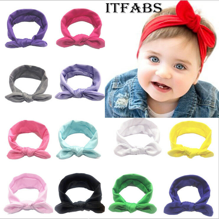 Goocheer New Baby Girls Princess Elastic Candy Solid Color Headdress Kids Baby Boys Cloth Hair Band Solid Bowknot Bow 3M-12T