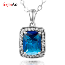 Szjinao Austrian Aquamarine Pendant  Stone Fashion Real 925 Sterling Silver Jewelry Statement necklaces & pendants for Women