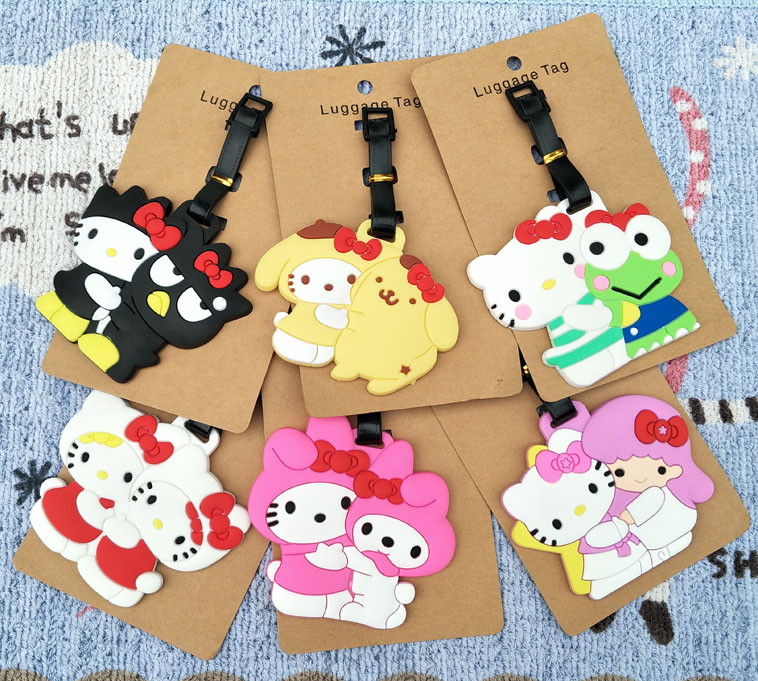 1pcs KT Cat Melody Anime Travel Brand Luggage Tag Suitcase ID Address Portable Tags Holder Baggage Labels New