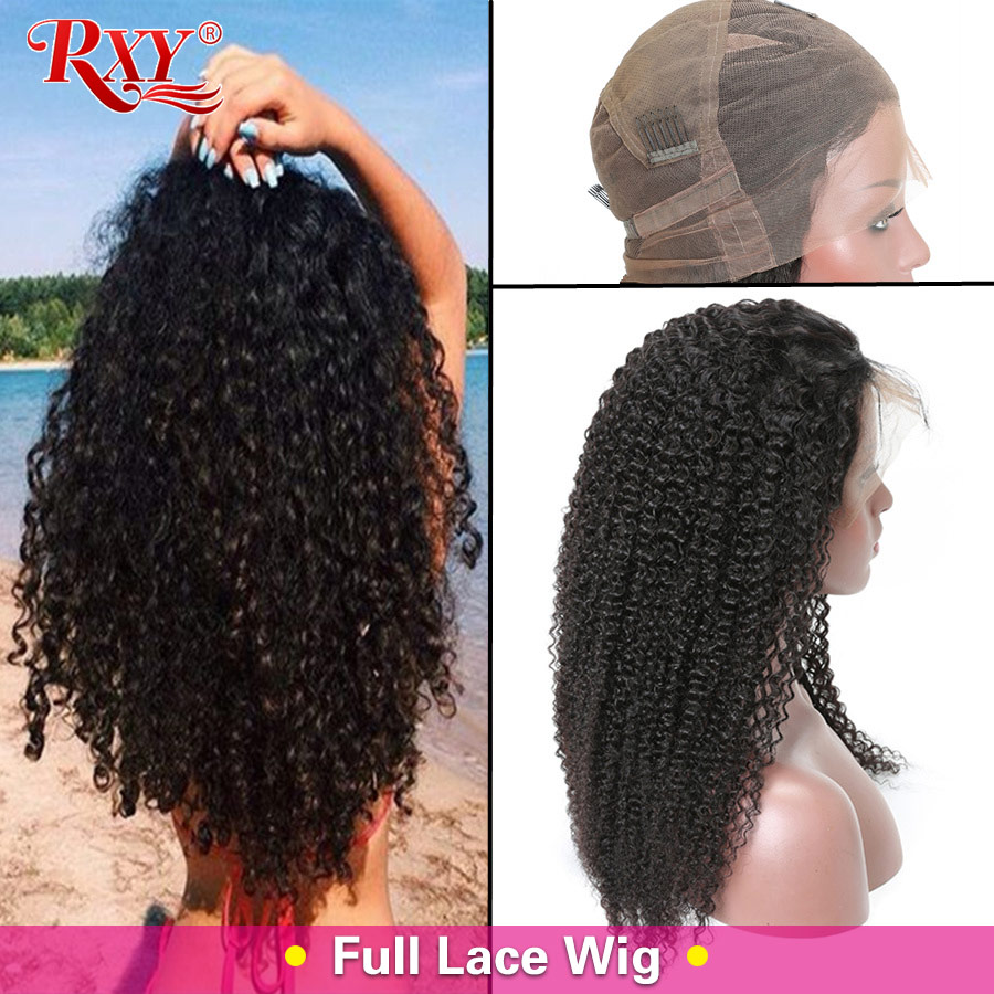 RXY rizado peruano pelucas Pre arrancado de encaje completo cabello humano pelucas con minimechones pelucas de encaje para las mujeres negras Remy