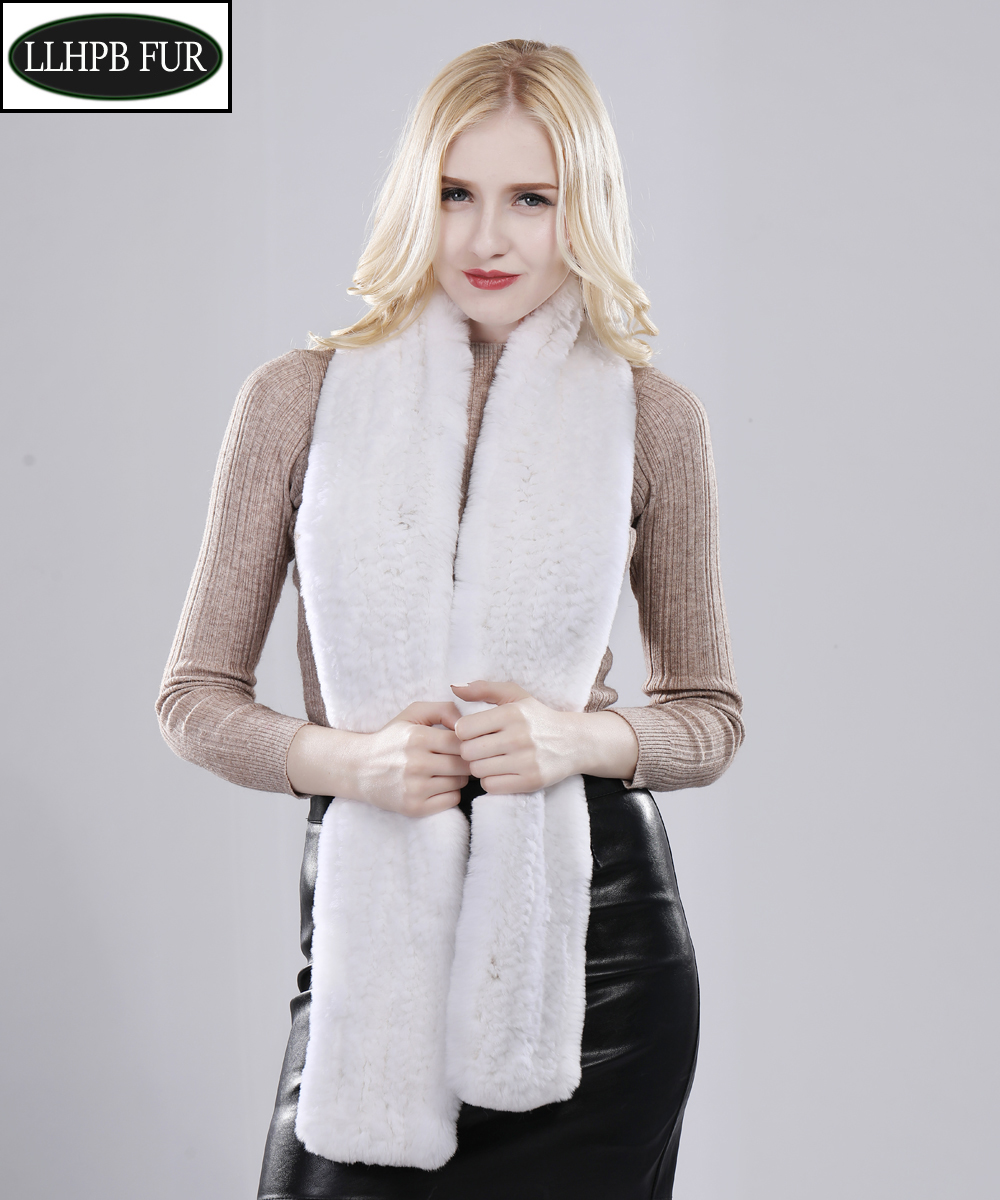 2020 Lady Hand Knitted Real Fur Scarf Winter Warm Natural Rex Rabbit Fur Muffler Women Long Quality Real Rex Rabbit Fur Scarves